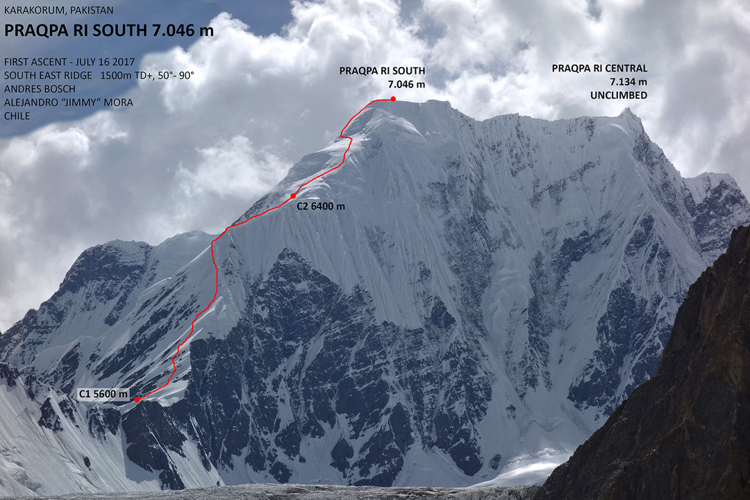 The Chilean route to the southeast top of Praqpa Ri. The map height of Khalkhal Pass (site of Camp 1) is 5,704m.