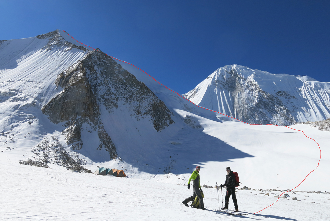 Sumur Kangri (5,991m) and the route of first ascent up the west-northwest ridge, as seen from a camp at 5,500m on the southern arm of the Sumur Glacier.  The northwest face of Nya Kangri is behind.