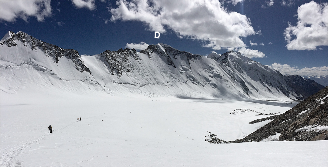 Descending the more northerly of the two glacial arms visited by the 2017 expedition. The team has just made the first ascent of Tsagtuk Kangri. (D) is Deception Point, climbed earlier in the trip from the far side.