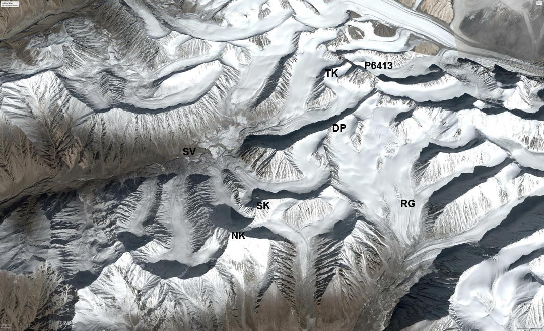 The Sumur and Rassa glaciers of the East Karakoram. (SV) Sumur Valley. (NK) Nya Kangri. (SK) Sumur Kangri. (DP) Deception Point. (TK) Tsagtuk Kangri. (P6413) Peak 6,413m. (RG) Rassa Glacier.