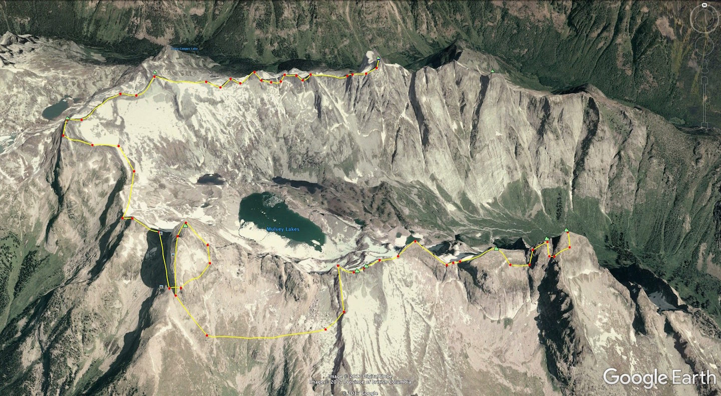 Map of the 13-peak Mulvey Basin linkup by Vince Hempsall and David Lussier, August 2017. The climbers started on Mt. Dag (foreground) and ended on Gladsheim in the back.