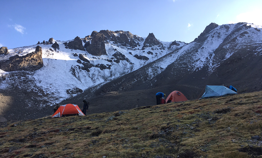 High camp at the base of Sauyr Zhotasy East.