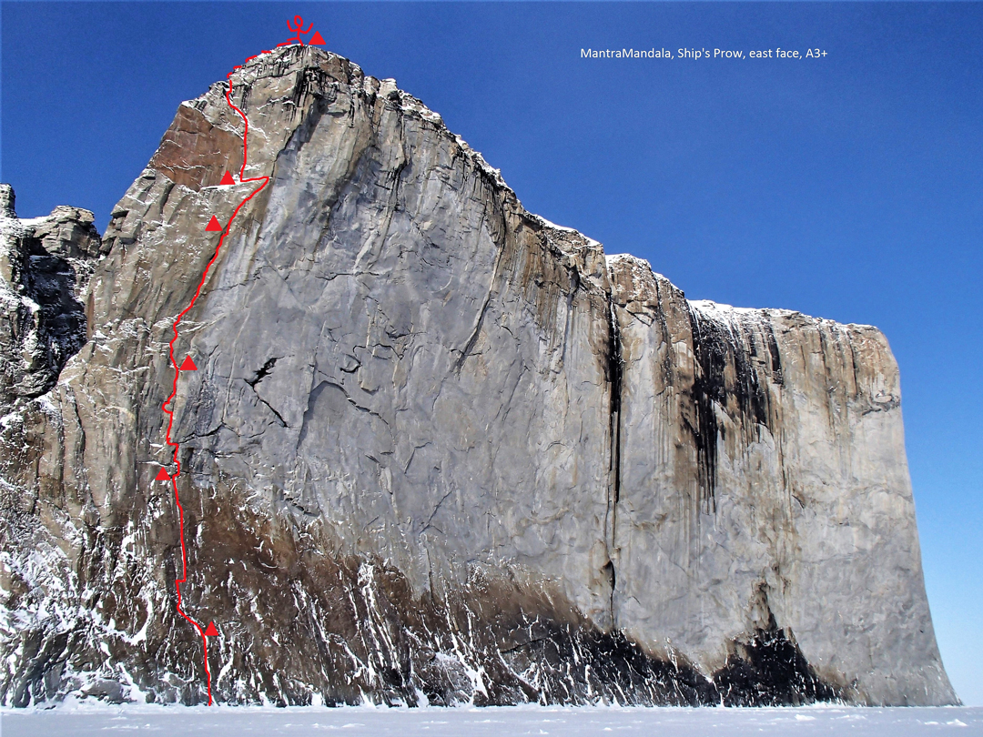 The route line for MantraMandala (450m, VI A3+), the first ascent of the east face of Ship's Prow on Scott Island.