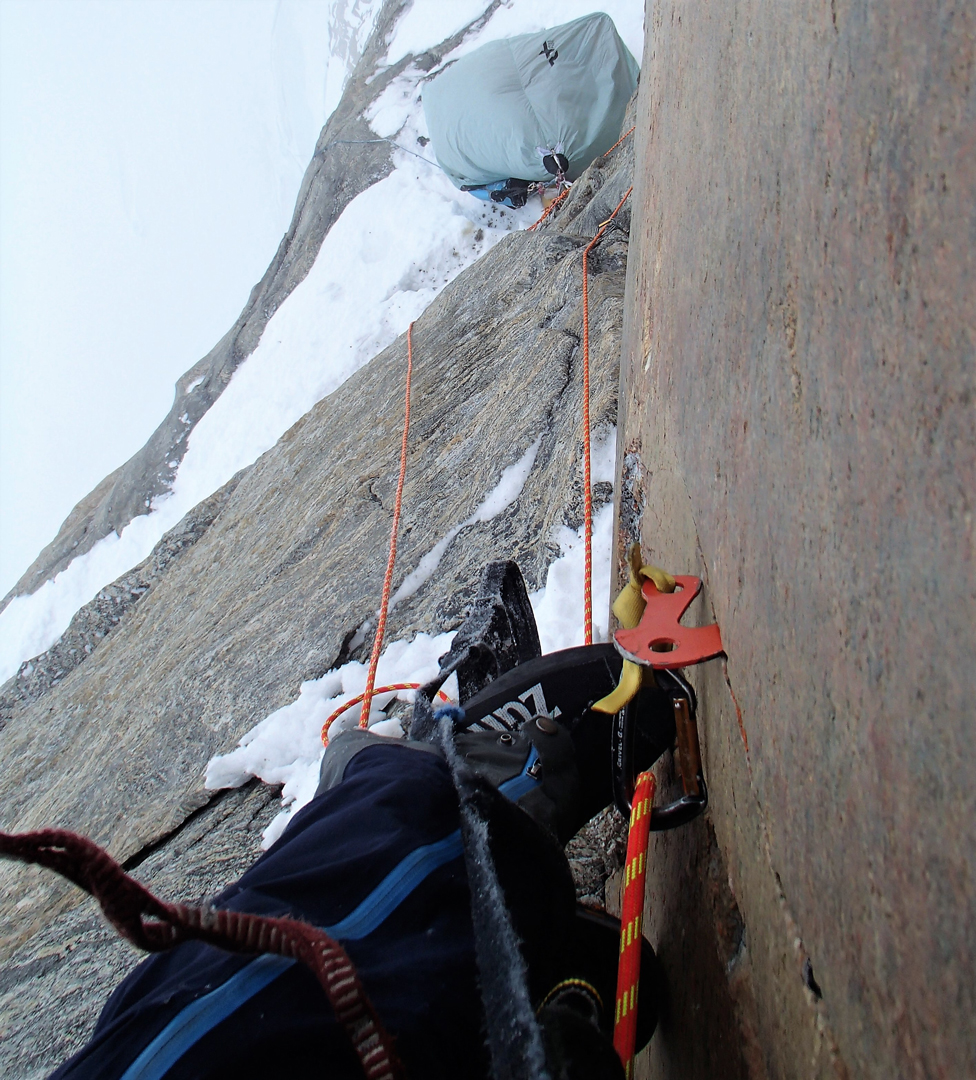 Marek Raganowicz near the top of MantraMandala, the first ascent of the east face of Ship's Prow on Scott Island.