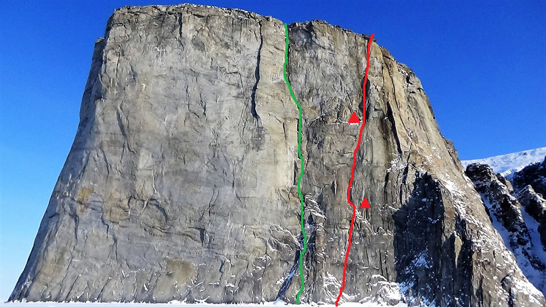 The north face of the Ship's Prow on Scott Island. Red line: Marek Raganowicz' new route Secret of Silence (600m, VI A4). Green line: The Hinayana (600m, VI 5.8 A3+, Mike Libecki solo, 1999).