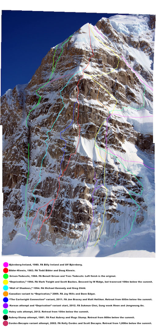 The famed North Buttress of Mt. Hunter (Begguya), showing all known routes.