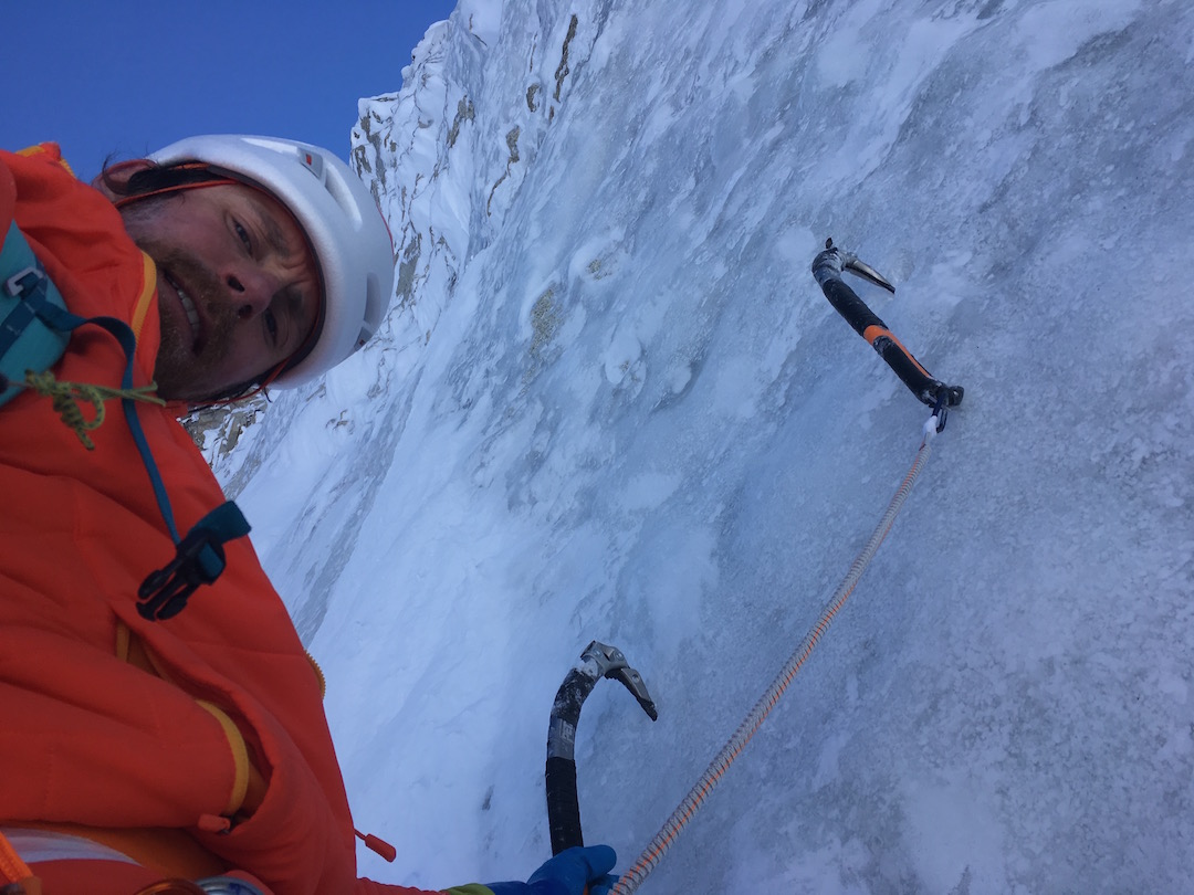 Haley climbing moderate ice just before joining the Björnberg-Ireland Route on the North Buttress of Mt. Hunter. Haley soloed the peak on May 12 in record time, taking a mere 17 hours and 33 minutes round trip from Kahiltna base camp.