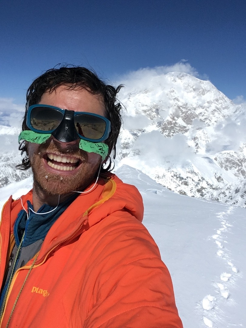 Colin Haley on the summit of Mt. Hunter after soloing the North Buttress. He reached the top of the peak just 7 hours and 47 minutes after crossing the bergschrund.