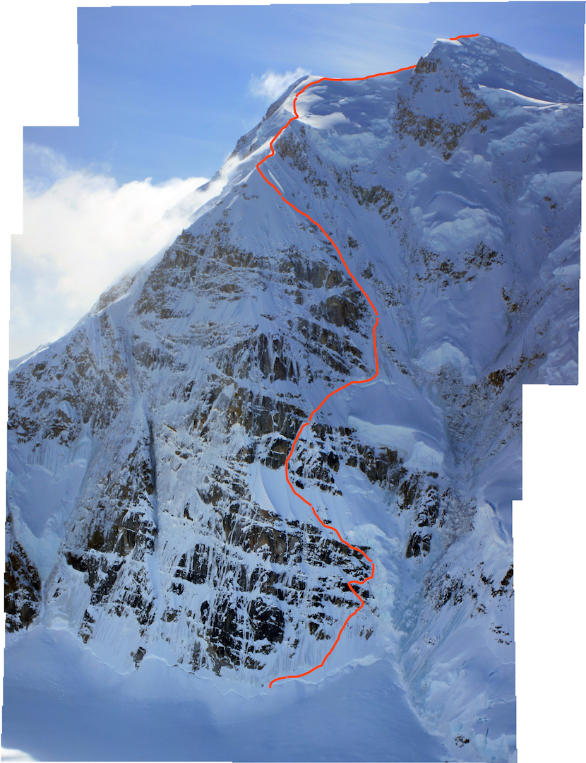 The line taken by Colin Haley during his May 12 solo ascent of Mt. Hunter's North Buttress, gaining roughly 2,000m of elevation from the bergschrund to the summit. The line combines portions of Deprivation, the Björnberg-Ireland Route, the Bibler-Klewin, and terrain near the bottom of the face that Haley first climbed in 2012. In 2016, Haley soloed Mt. Foraker's Infinite Spur in just over 12 hours.