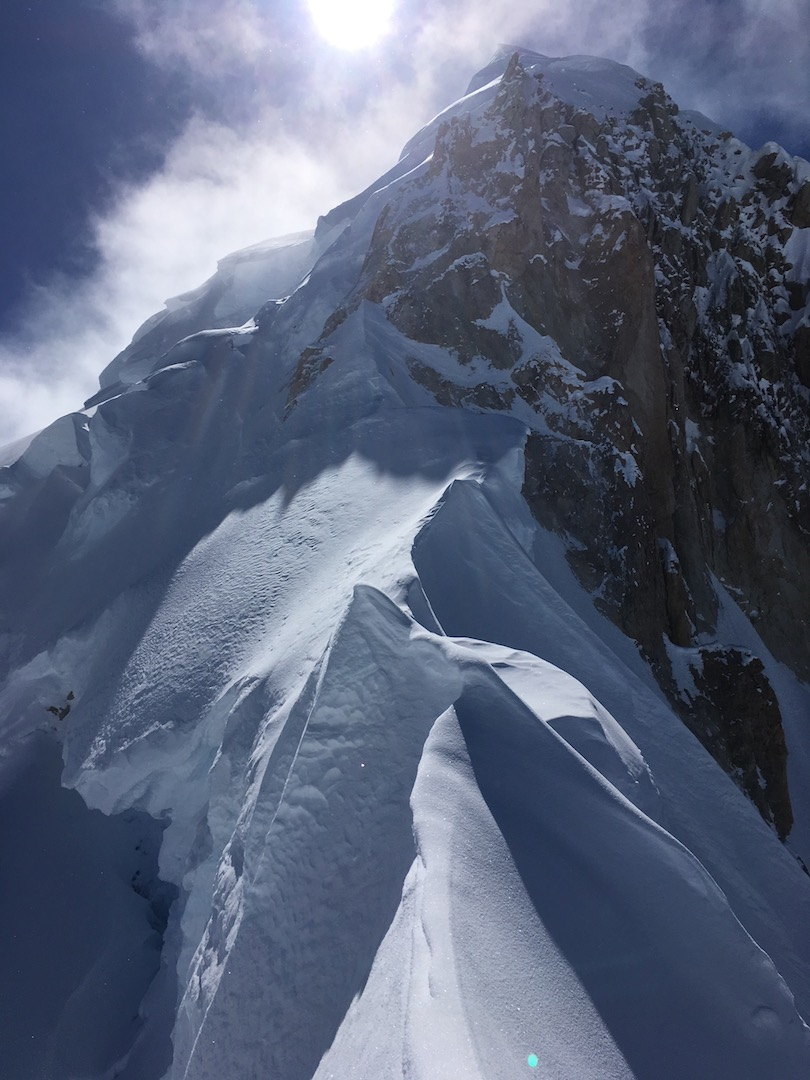 A shot of Mt. Hunter's upper northeast ridge from the point where the tracks ended. In 2012, Haley had climbed to 100 meters below the summit after soloing the buttress, but turned around due to exhaustion.