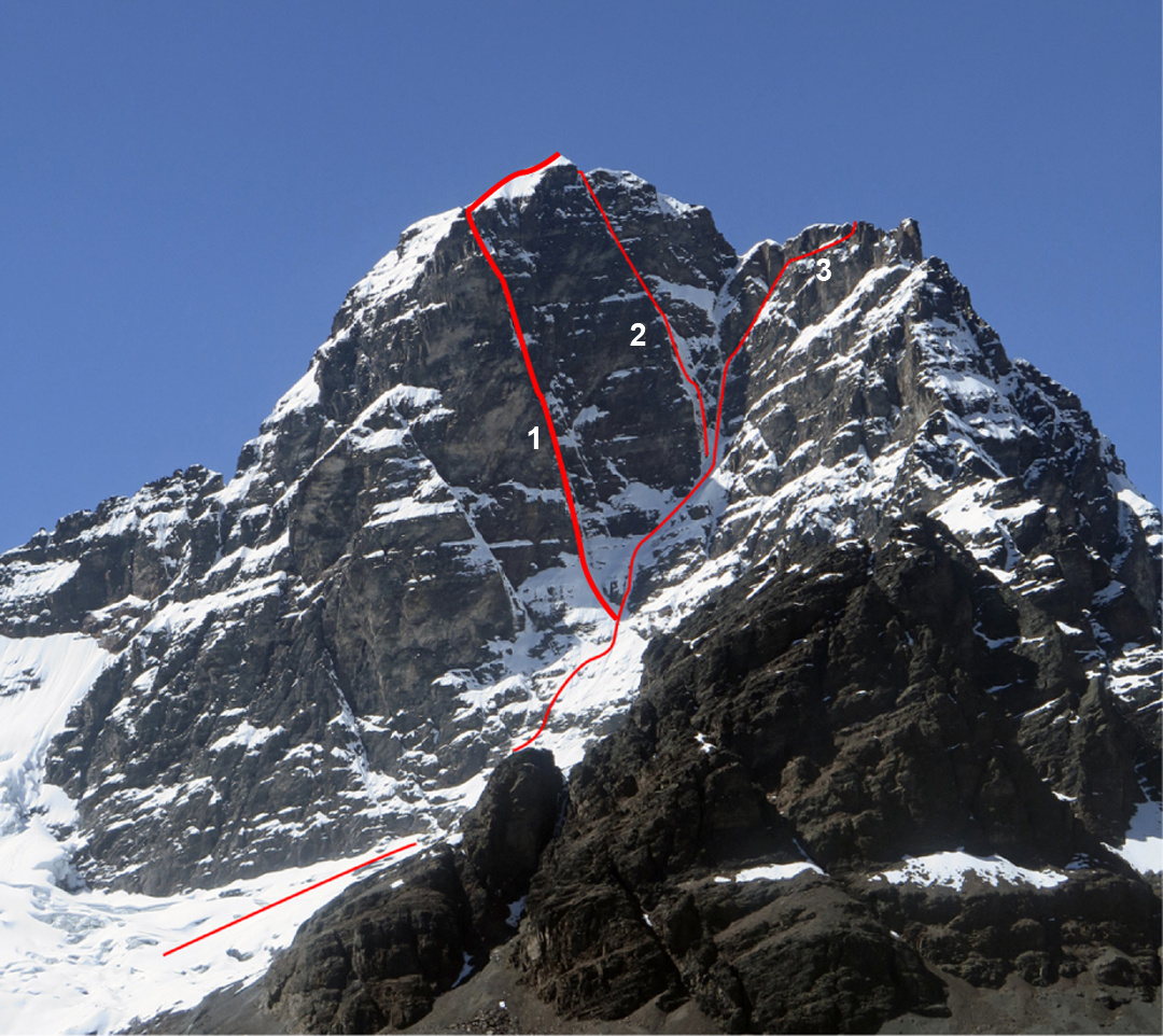 The southwest face of Huallomen. (1) Route climbed by an Argentinian-Chilean team in 2017. This line was dubbed Canaleta del Angel by Alain Mesili in a 2004 guidebook. (2) Mesili Route (1976). (3) Via del Querubín. The peak's normal route is on the far side.