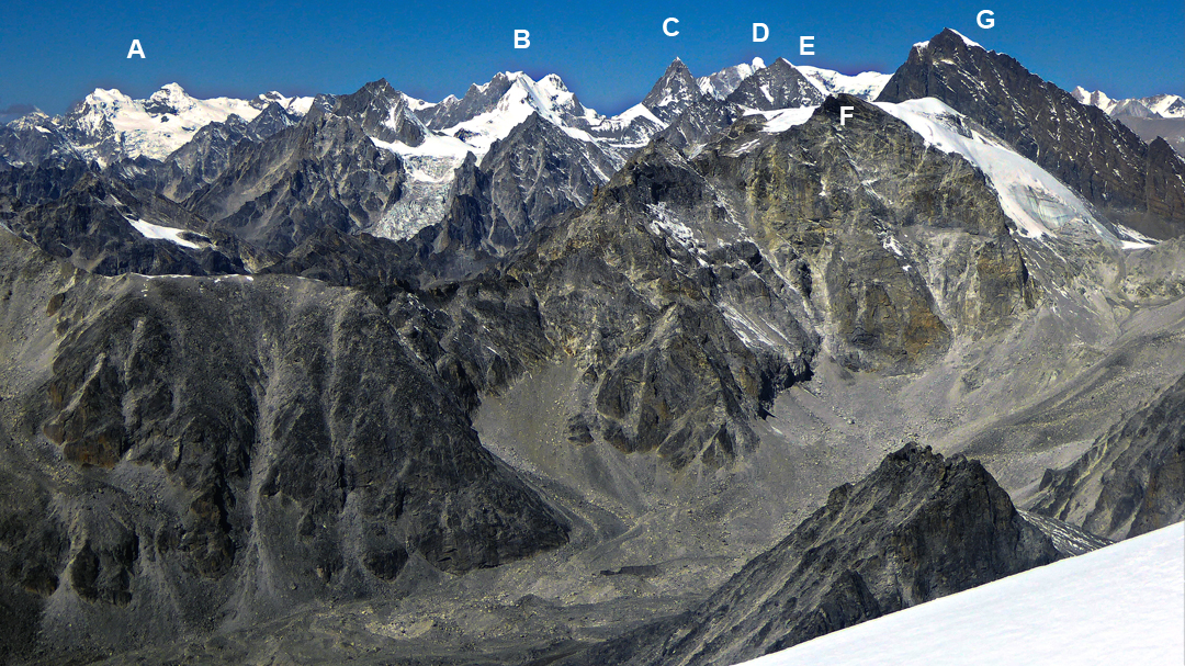 The view west and northwest from Lekh Fett. (A) Unnamed twin peaks at the head the Bholbihan Khola, the objective of a 2017 American expedition. (B) Asajya Tuppa (6,265m). (C) Absi (6,254m). (D) Lachama (a.k.a. Kubi Kangri, 6,721m). (E) Kangla II (Ngomo Ding-Ding, 6,133m HGM Finn). (F) N3 (ca 5,850m). (G) Pratbandhit Lek (6,130m GPS). The first-ascent route up the northwest ridge is hidden behind.
