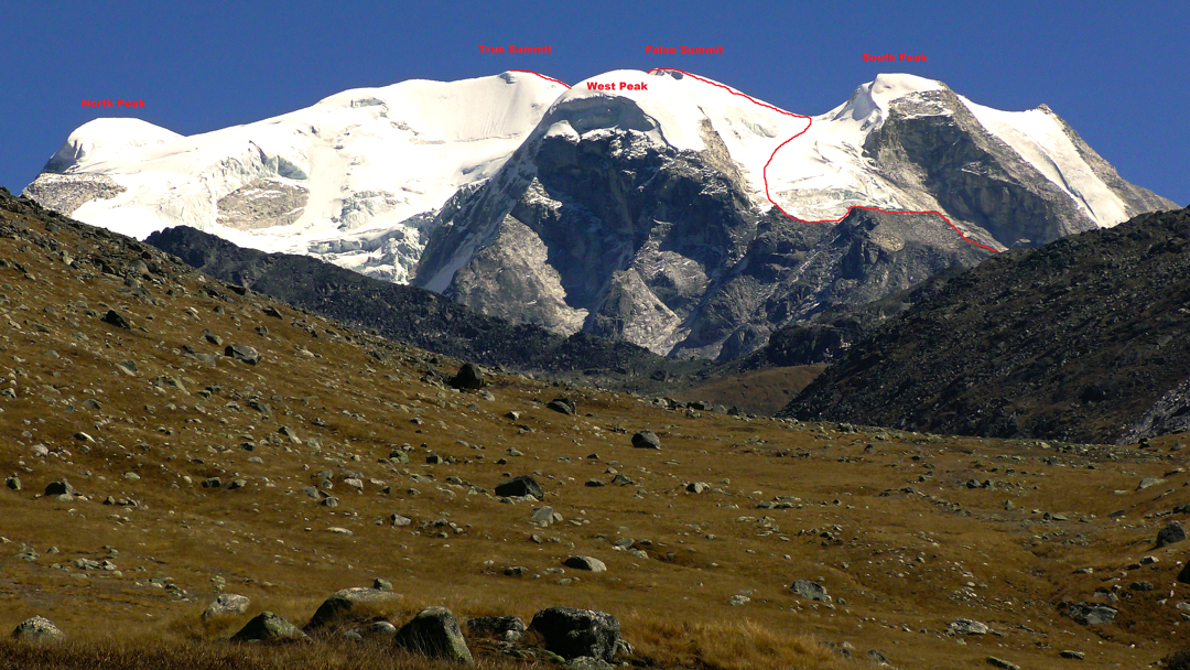 Sunkala Topi (5,865m) seen from the Take Khola to the southwest, with the route of first ascent marked.