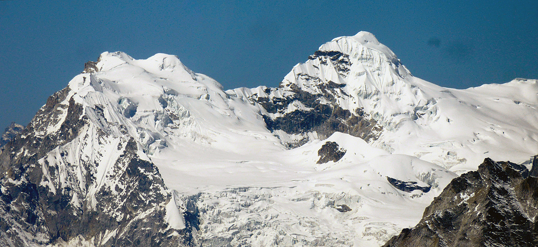 Unclimbed twin peaks above the head of the Bholbihan Khola.