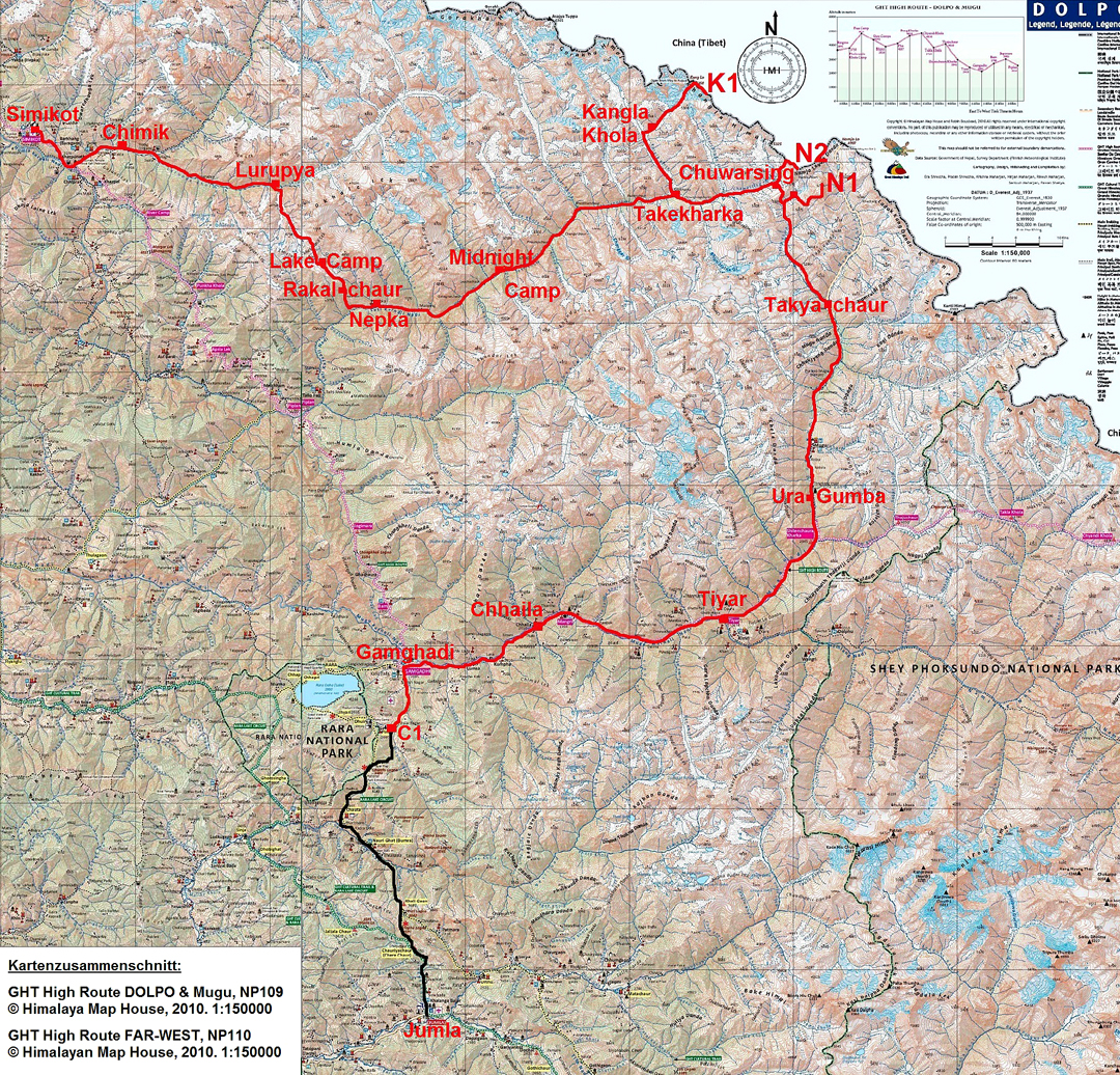 The trekking route of the 2017 German expedition into the border mountains of West Nepal, heading north from Gamghadi and then exiting to Simikot after making three first ascents. N1: Sunkala Topi. N2: Lekh Fett. K1: Pratbandhit Lek.