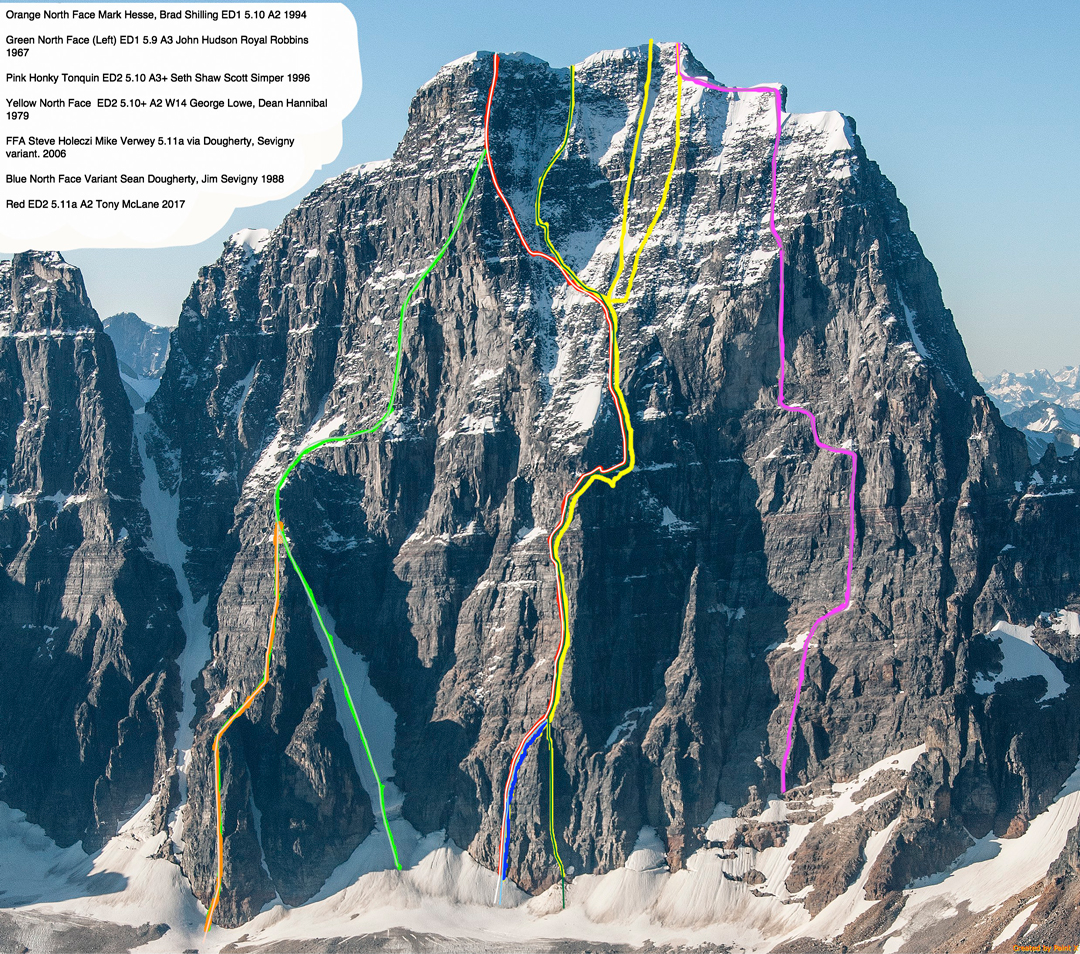 Photo annotated by Tony McLane, showing the approximate lines of ascents on Mt. Geikie's north face. McLane's solo ascent, with a new variation, is marked in red.