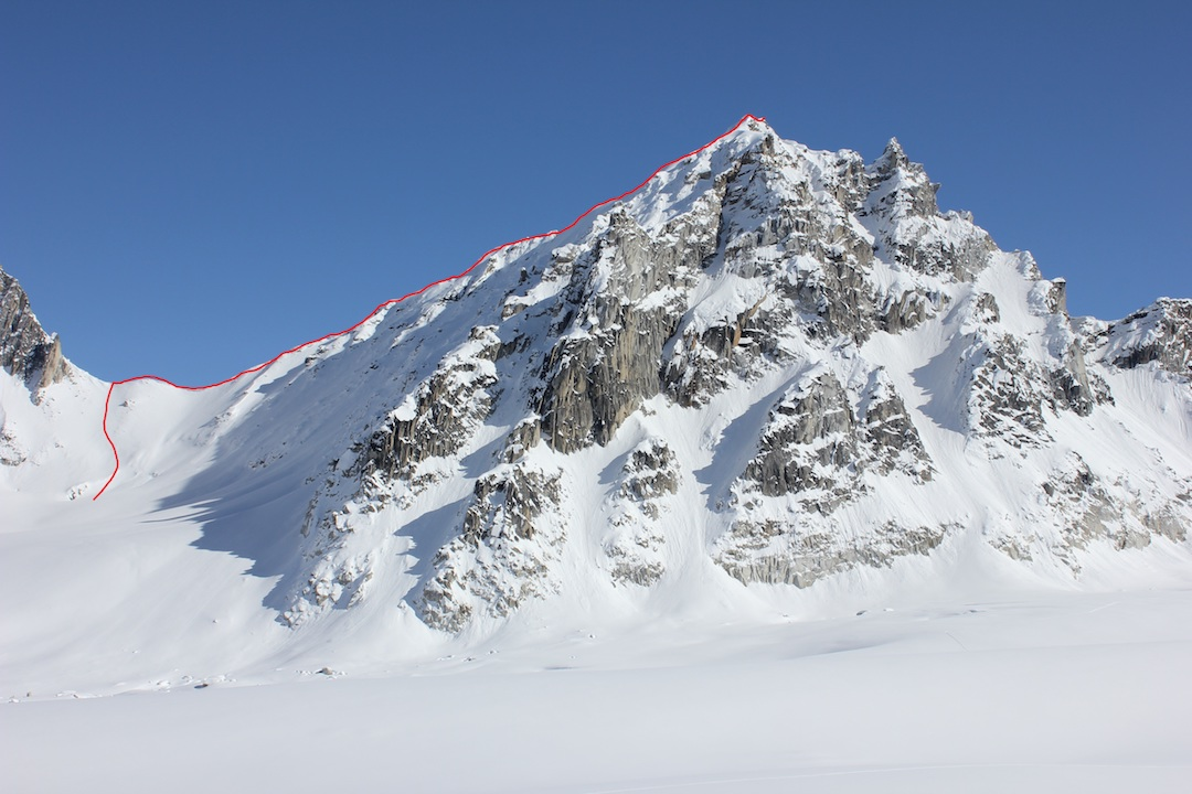 The Prophet (Peak 6,905'), showing the route It's a Girl! Gedas Simutis and Frieder Wittmann skied to the prominent notch on the left side of the peak before following the left-hand skyline to the summit.