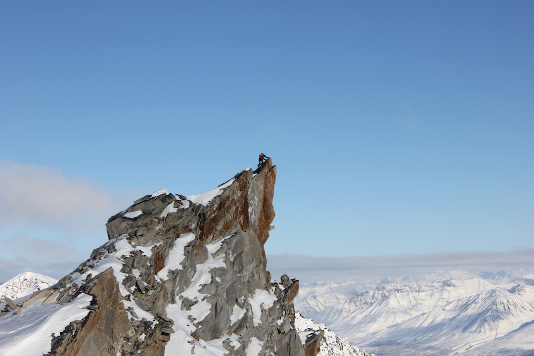 Frieder Wittmann on one of the two high points of the Prophet (Peak 6.905'). Wittmann and Gedas Simutis climbed the peak's northeast ridge on March 28 for the mountain's first known ascent, tagging both high points to be sure they reached the highest.