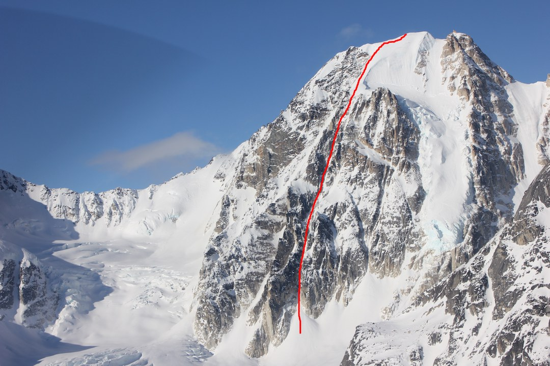 Mephisto (Peak 8,568') showing the line of Langstrasse (800m, WI4 M4). The route was one of several new lines that Gedas Simutis and Frieder Wittmann completed during a three-week stay on the south fork of the Fish Glacier in the Revelation Mountains.