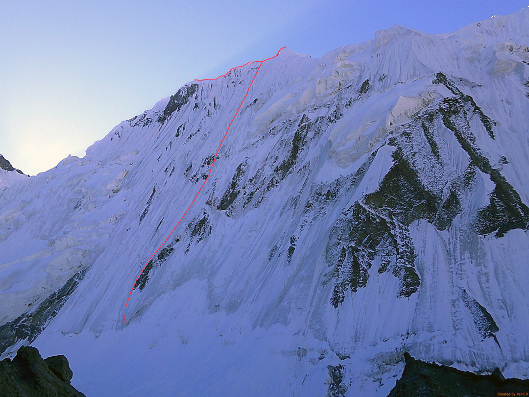 The north face of Pik Irbis (ca 5,350m) and the line of Twenty-two Ropes. Both the east and west tops were reached—possibly the first ascent of the peak.