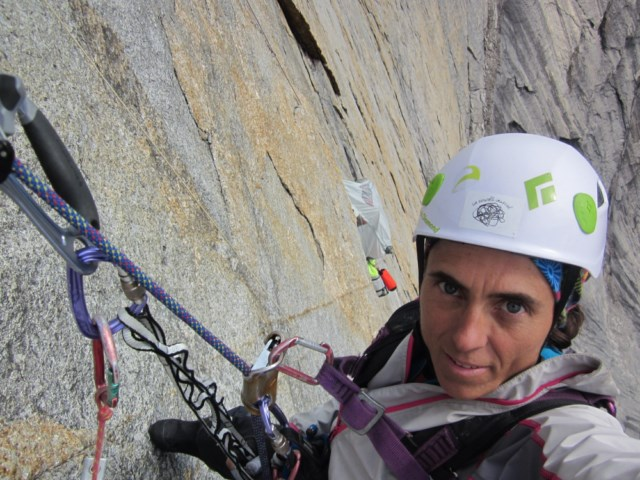 Sílvia Vidal cleaning the eighth pitch of her new route Un Pas Més (530m, 6a A4/+). Vidal spent 53 days alone in the Arrigetch Peaks to complete the route, 17 of which were on the wall.