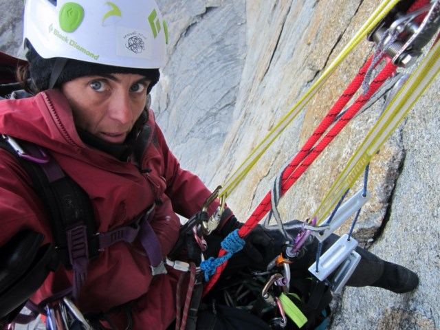 Sílvia Vidal rappelling her route Un Pas Més (530m, 6a A4/+) on the west face of Xanadu in Alaska's Arrigetch Peaks. Vidal's route was one of three new lines climbed on this previously unclimbed wall in the summer of 2017.