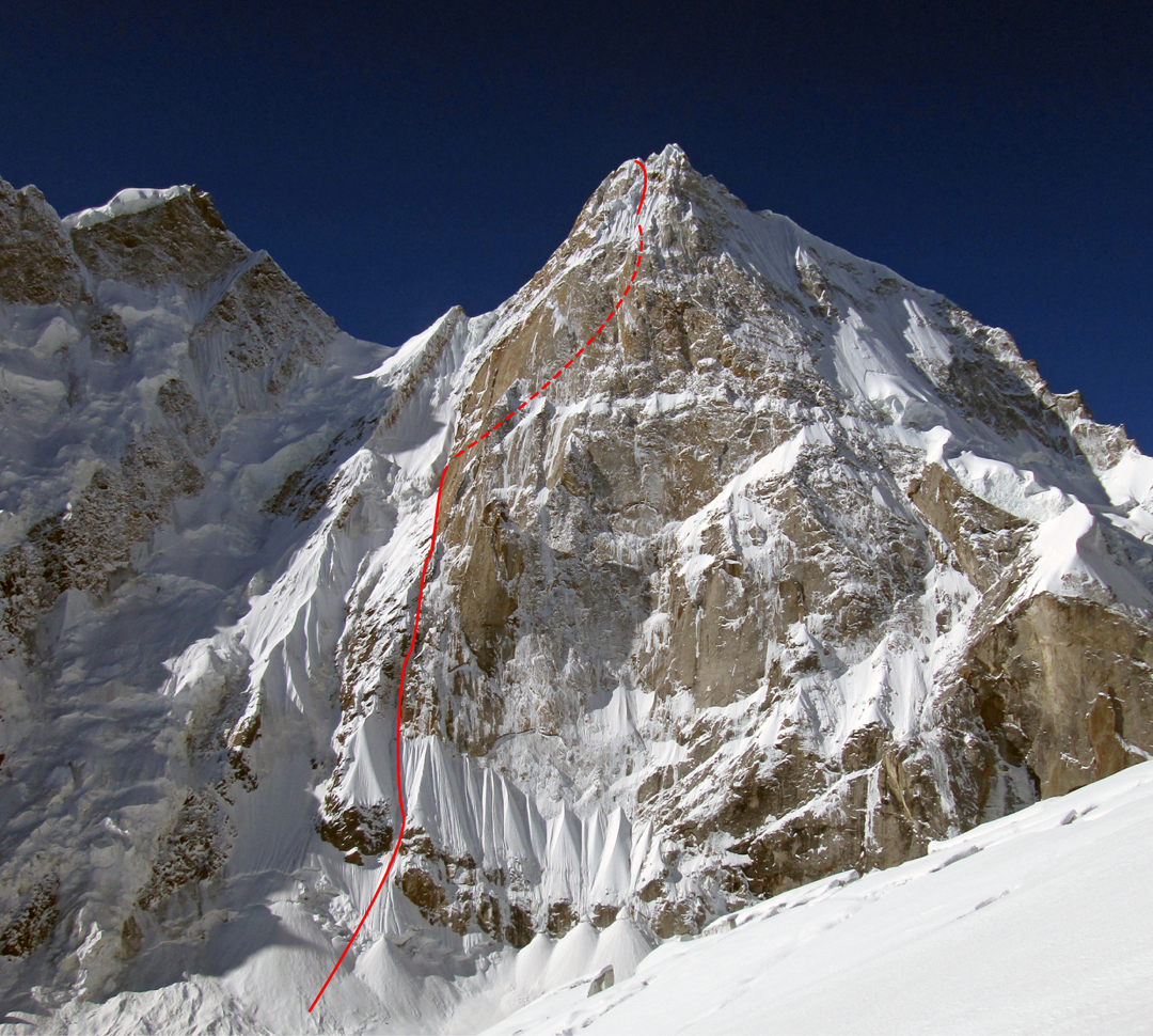 The north face of Barnaj I (6,370m GPS) in 2014. The upper section of the 2017 route, which faces almost east, is hidden in a deep icy chimney.