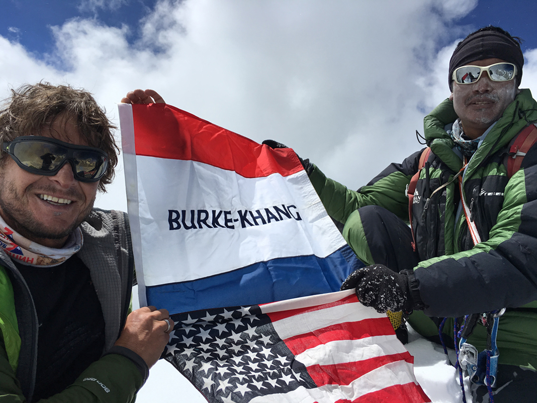 Noel Hanna and Naga Dorje Sherpa on the summit of Burke Khang.