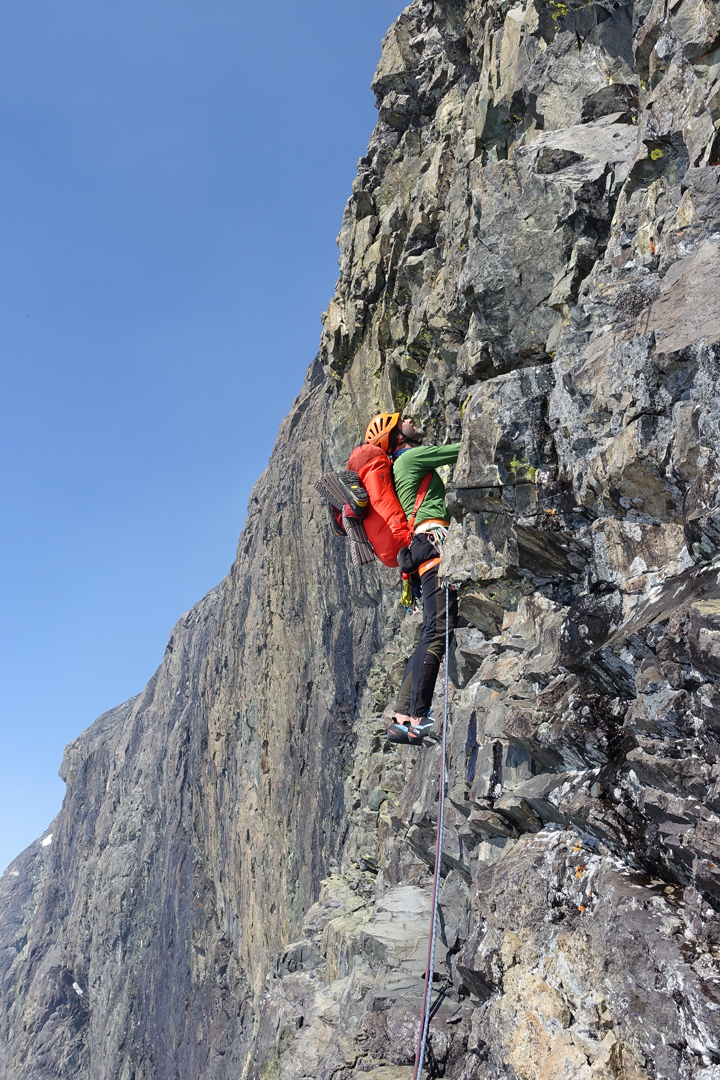 Micha Rinn on day two of Game of Thrones, the first ascent of the southwest face of Monarch Mountain. The compact, metamorphic rock was difficult to protect.