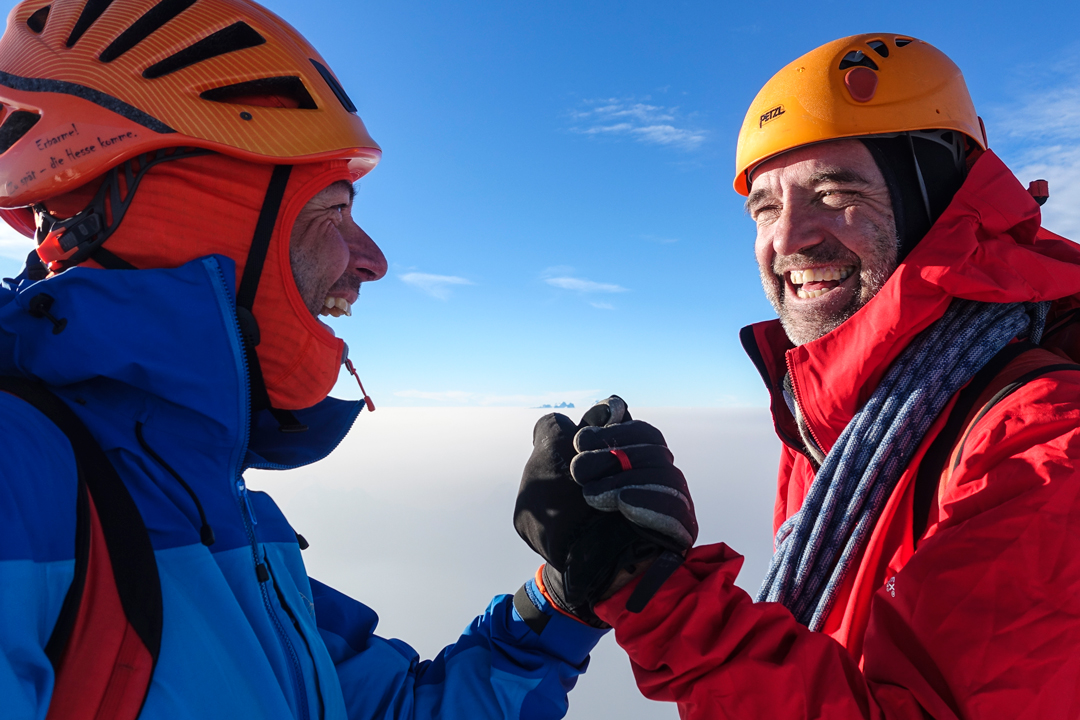 Micha Rinn and Simon Richardson on the summit of Monarch Mountain after climbing Game of Thrones, the first ascent of the southwest face.
