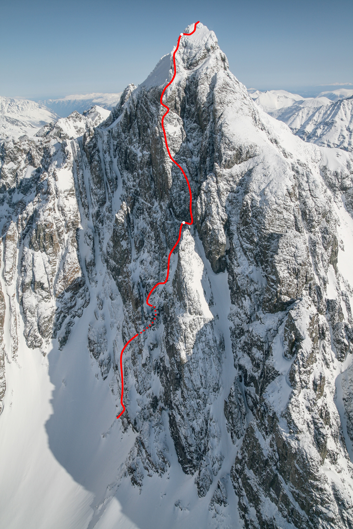 Route line for Game of Thrones (1,250m, ED2 5.10a) on the southwest face of Monarch Mountain.