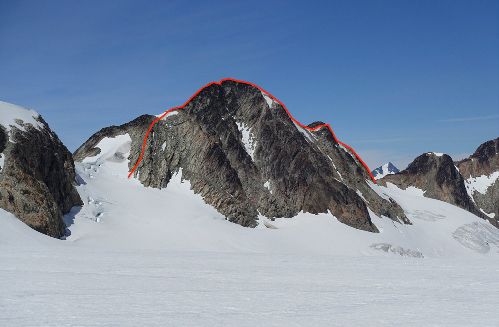 Peak 2,625m as seen from Empire Way Glacier. The north ridge route is on the right; the descent down the south ridge is shown on the left.