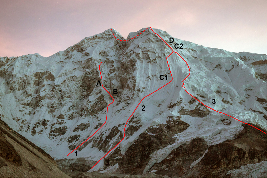 Nangpai Gosum I from the south-southwest. (1) Approximate line of the French attempt and high point at 6,600m. (A) The Kobusch high point in 2017 and (B) a 3m section of WI4+/5. (2) Route followed by Kobusch on his successful second attempt, with (D) the crux area giving two, 5m to 6m vertical sections. Camps (C1 and C2) are shown. (3) Japanese-Nepalese route (2006) to the south top.