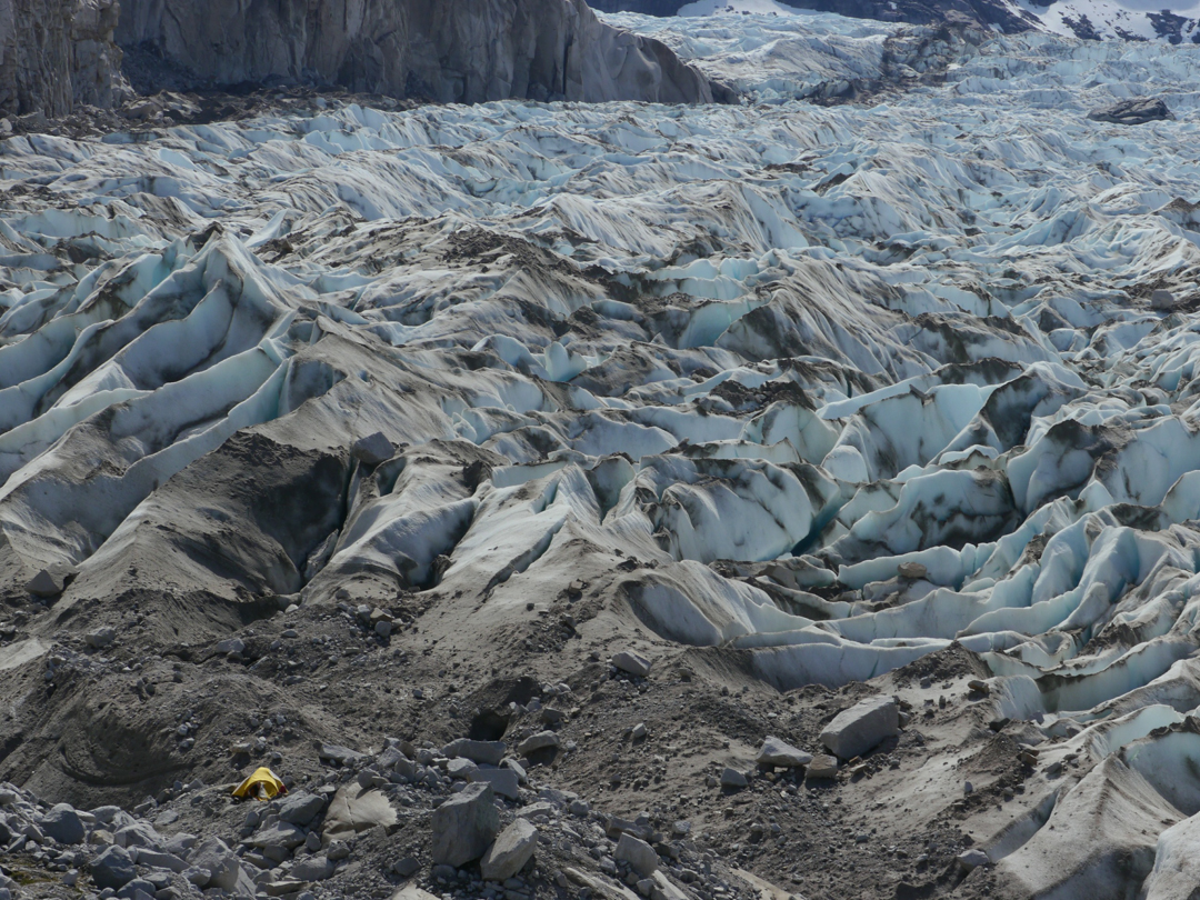 Camping on the moraine of the Nef Glacier.