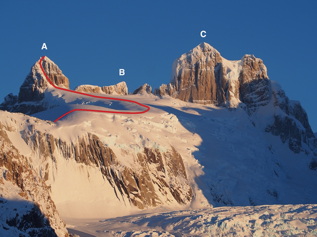 Southeast side of (A) Punta Pantagruel, showing the 2018 route, (B) Punta Anna, and (C) Cerro Gargantua. Cerro Gargantua was climbed in 1971–1972 by a New Zealand team, following a snow ramp on the north side. The face seen here is about 300m.