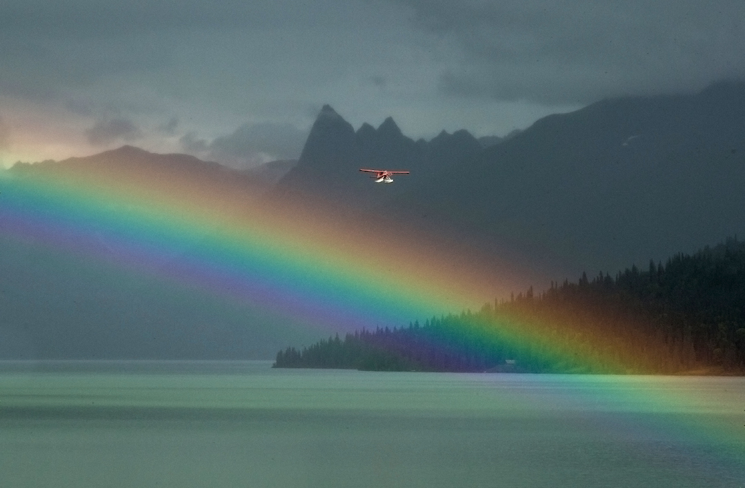 One of Chelatna Lake Lodge's de Havilland Beaver planes heads for the end of the rainbow with the Dogtooth in the background.
