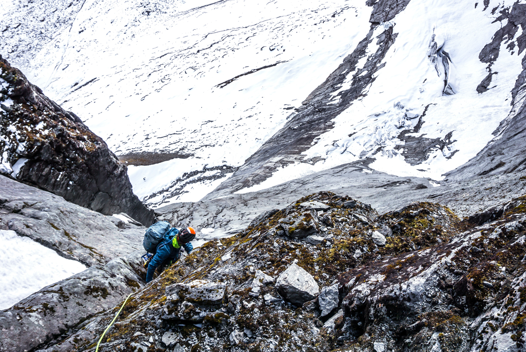 Jonathan Cooper on pitch seven of Lung-Ta Buttress in the Barun Valley.
