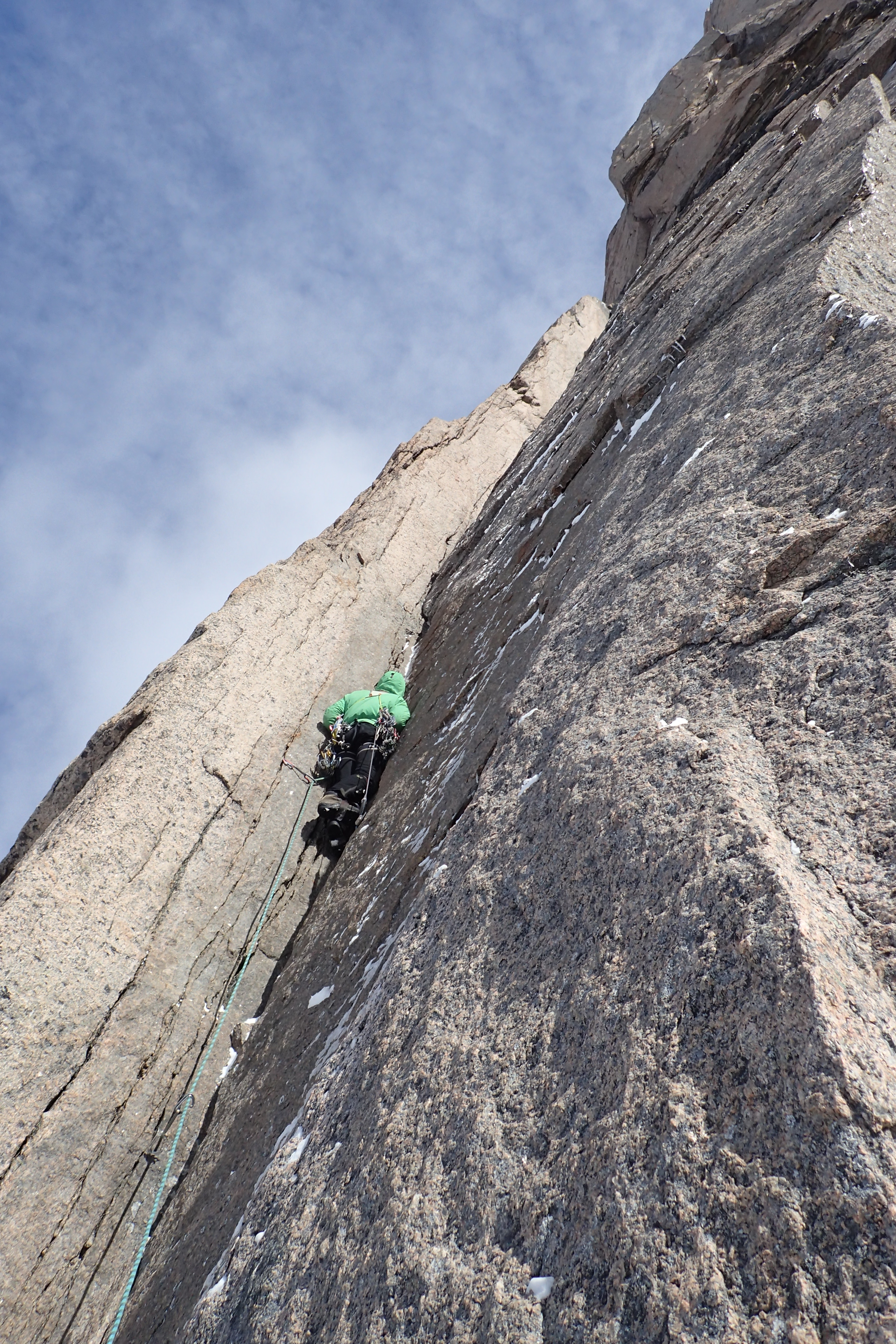 Sergey Nilov climbing on Ratatoskr, a new route on the northwest face of Mt. Asgard's south tower.