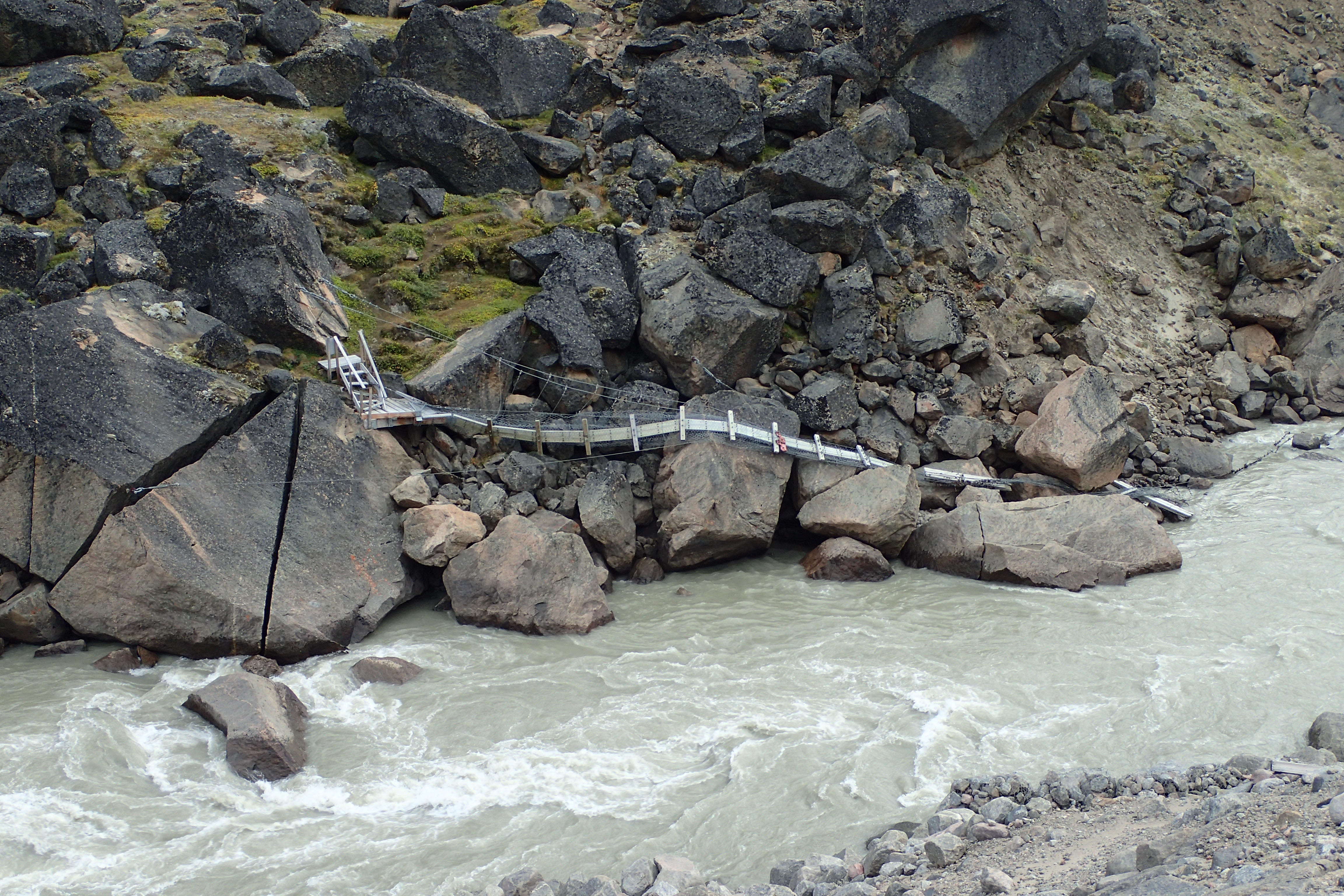 Remains of the Windy Lake bridge over the Weasel River, which washed out in a flood in 2008.