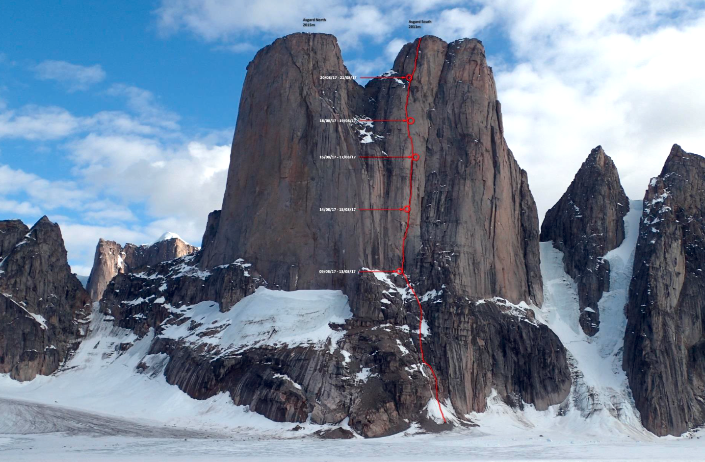 The new route Ratatoskr on the northwest face of Mt. Asgard's south tower. The route starts in the same vicinity as Charlie Porter's 1975 solo ascent of the north tower but is the first known route up the prominent buttress above.