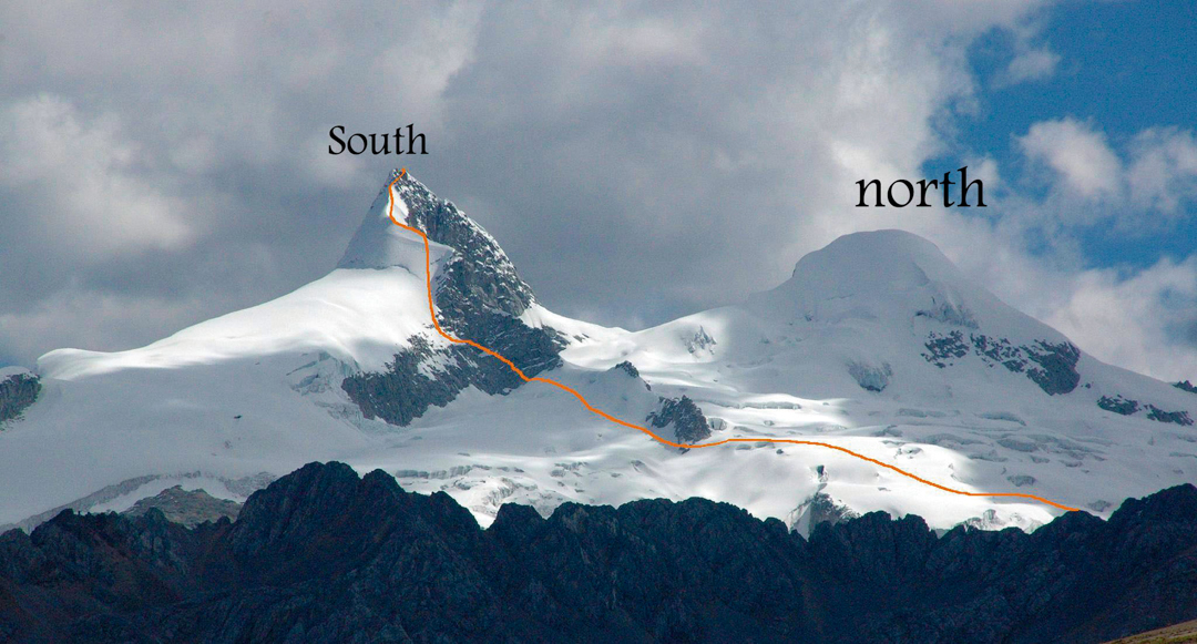 The route Wanka Ñan (650m, AD+ UIAA V+ M3) up Nevado Pariacaca Sur's northeast face and ridge. The upper portion of the route, above the snowy shoulder, is likely similar to earlier routes. The north summit is shown to the right.
