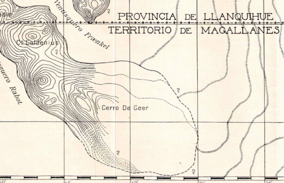 Cerro De Geer as drawn by 1921 expedition geographer Hugo Pallin.