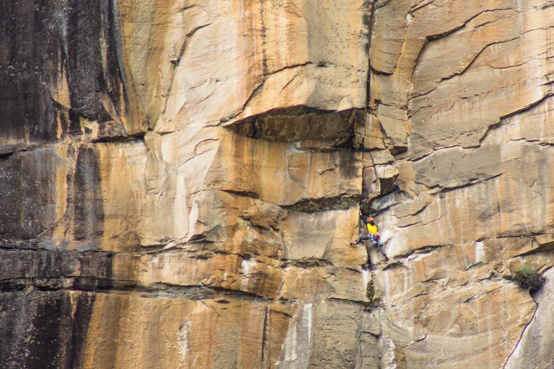 Iker Pou opening pitch five (7a+) of Yaku Mama by Gocta Falls.