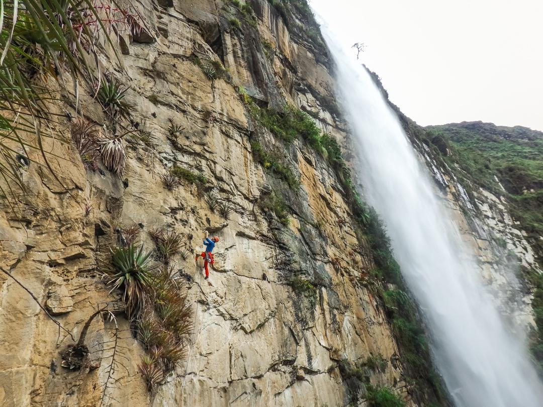 Eneko Pou on pitch three of Yaku Mama (6c), left of upper Gocta Falls.