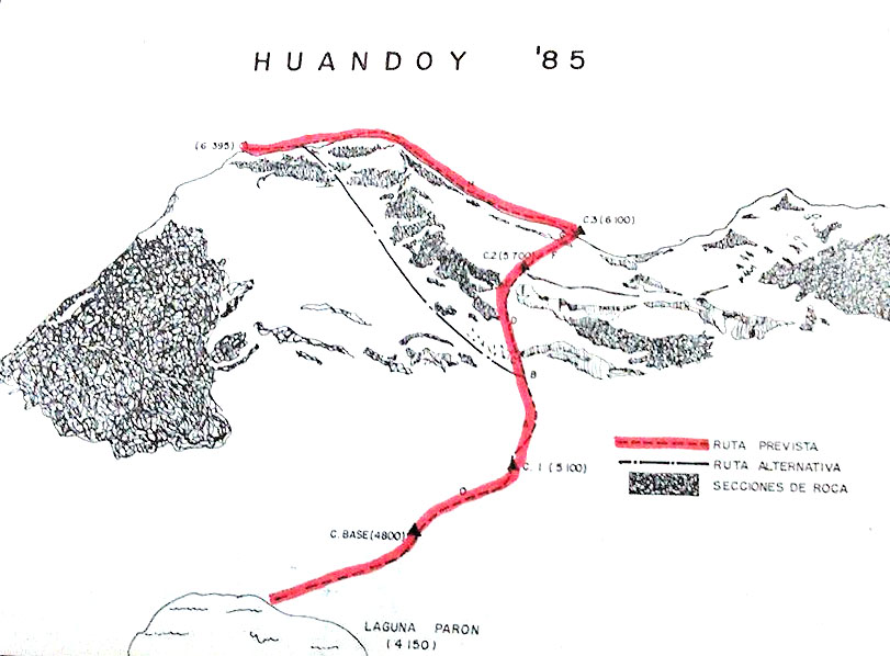 The 1985 Mexican route on Huandoy Norte's west-northwest face.