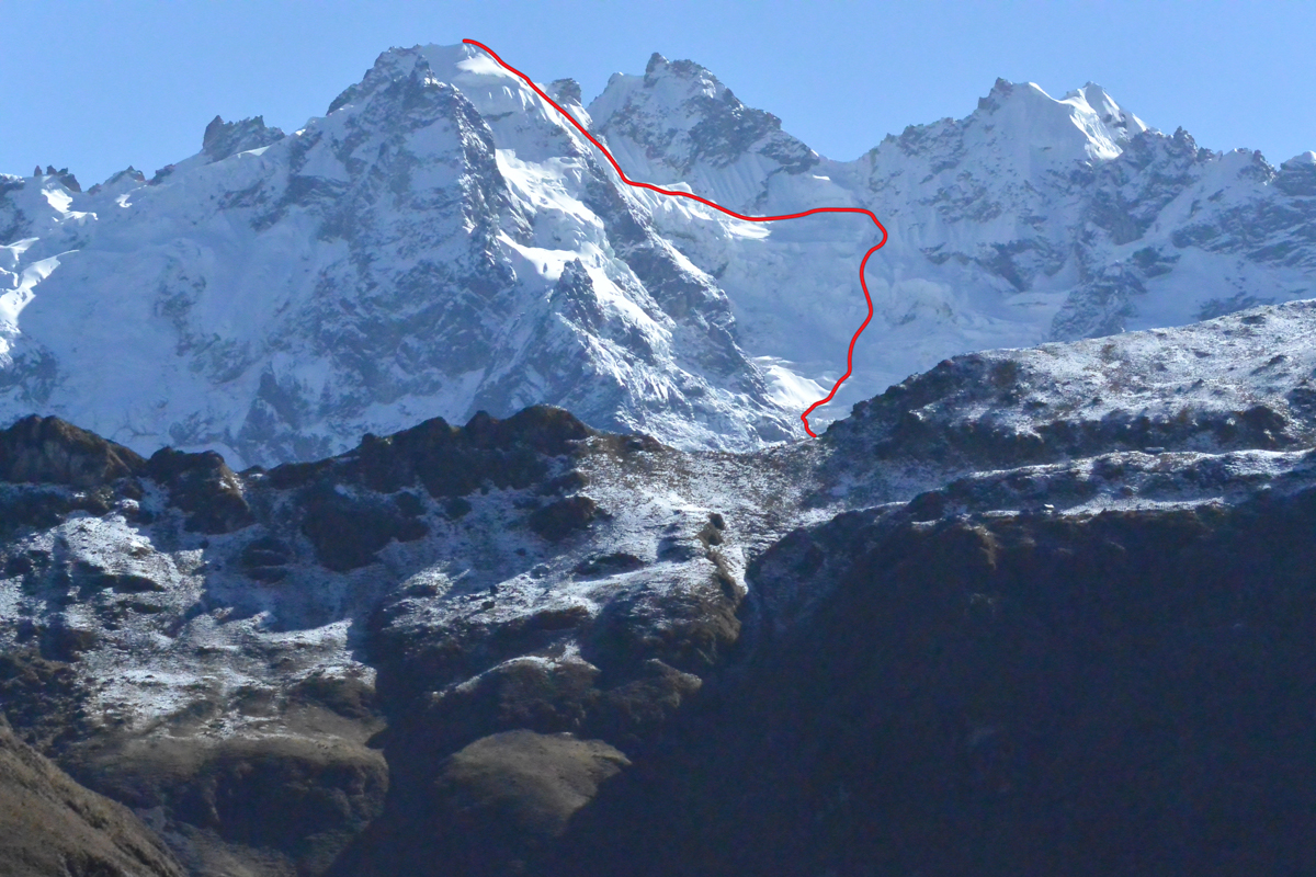 """The new route (400m, AD) up the south face of Terijuay to the west summit (5,330m), first climbed from the west in 1963. The rocky central summit, """"Quelcanca,"""" is just to the right."""