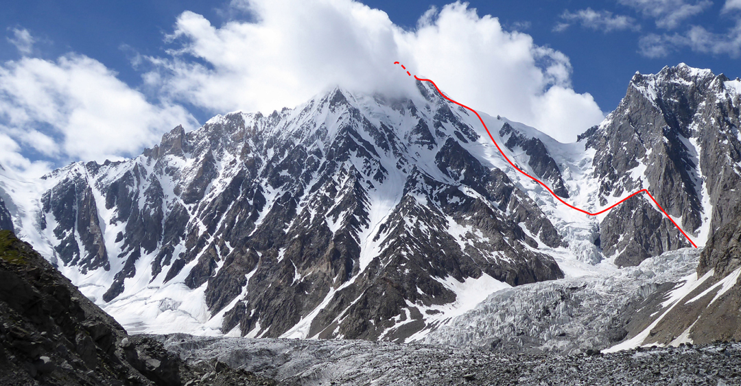 Seen from the Soot Gah Glacier, Jinnah Peak and the 2017 route of ascent up the southeast face and east ridge. The unnamed, unclimbed summit to the right was estimated at 5,700m.
