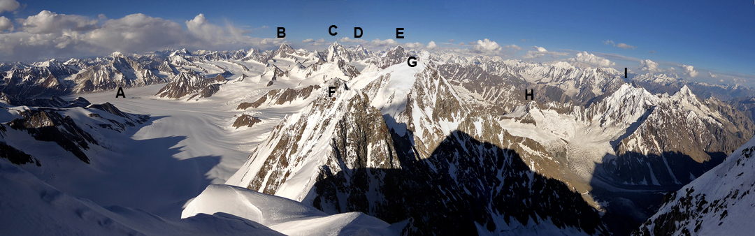 Looking down the east ridge of Jinnah Peak. (A) Main Chiantar Glacier. (B) Koh-i-Chaterboi (6,150m, climbed in 1967). (C) Koh-i-Chiantar (6,416m, 1967). (D) Koz Sar (6,677m, 1999). (E) Karka Peak (6,222m, 2007). (F) Unnamed Peak ca 5,700m. (G) Soot Gah (5,825m, 2014). (H) Brocca Peak (5,040m, possibly 2004). (I) Diang Peak (5,553m).