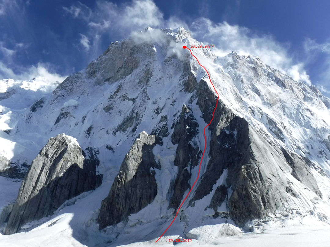 The 2017 Russian attempt and high point on the north ridge of Latok I.