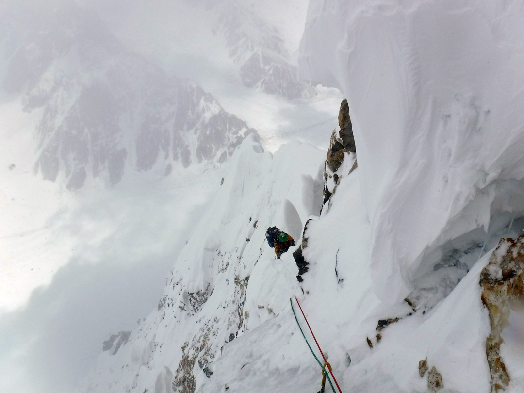 High on the north ridge of Latok I in bad weather during the 2017 Russian attempt.